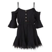 Sisjuly Women Short Jumpsuits Black Fashion Lace Ruffles Women Summer Playsuits Party Slim Mini Rompers Falbala