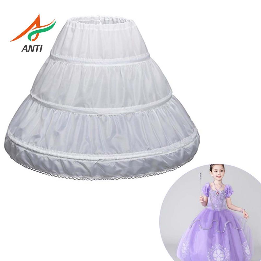 ANTI White Children Petticoat A-Line 3 Hoops One Layer Kids Crinoline Lace Trim Flower Girl Dress Underskirt Elastic Waist Cheap