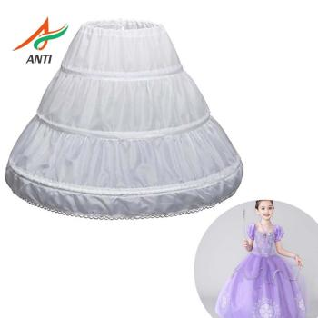 ANTI White Children Petticoat A-Line 3 Hoops One Layer Kids Crinoline Lace Trim Flower Girl Dress Underskirt Elastic Waist Cheap - sale item Wedding Accessories