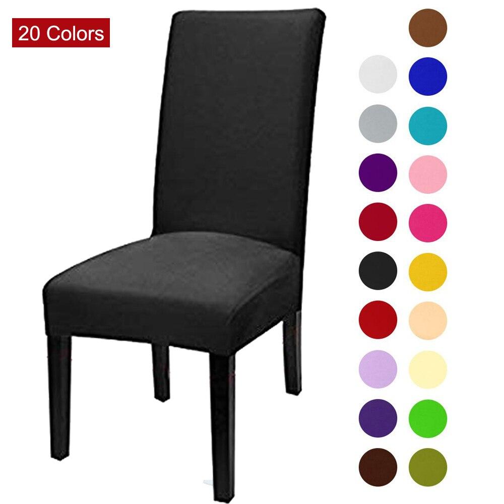 Couleur unie housse de chaise Spandex Stretch élastique housses de chaise blanc pour salle à manger cuisine mariage Banquet hôtel