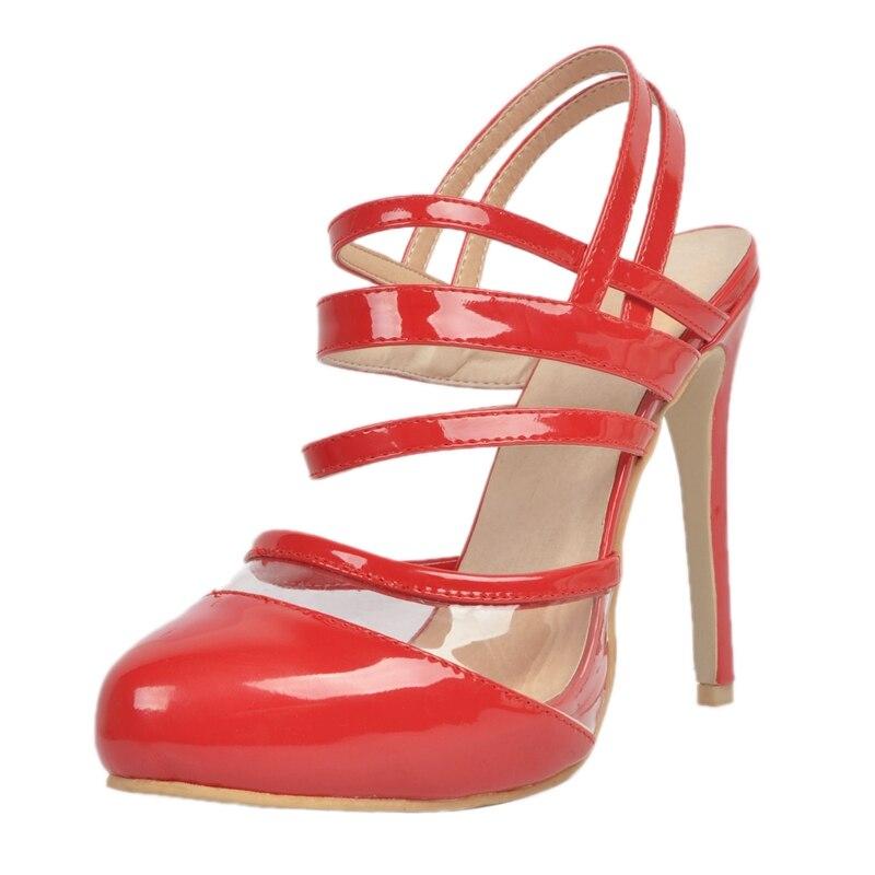 ФОТО Red Patent Leather Closed Toe Slingbacks Women Pumps Pvc Straps Open Heels Extreme High Heels 12Cm Size 34-45 Pumps Ladies