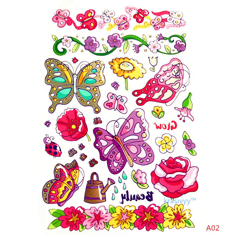 Krasivyy children temporary tattoos stickers cartoon animals  butterfly colorful flash tattoo paste makeup girls