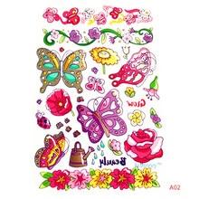 Krasivyy children temporary tattoos stickers cartoon animals  butterfly colorful flash tattoo paste makeup girls