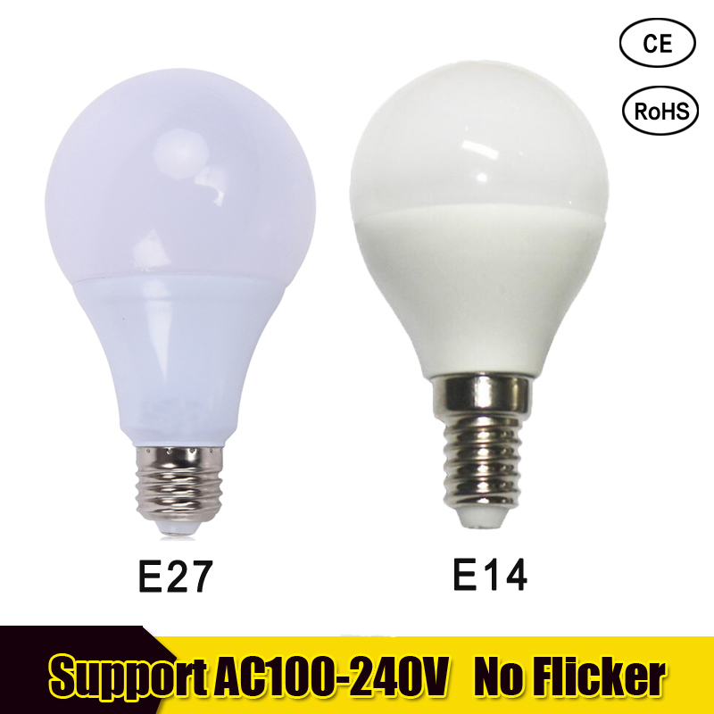 LED Light Bulb E27 E14 LED lampa 220v 3w 5w 7w Para el hongar 9w 12w 15w lampara led bombillas For chandelier cold warm white