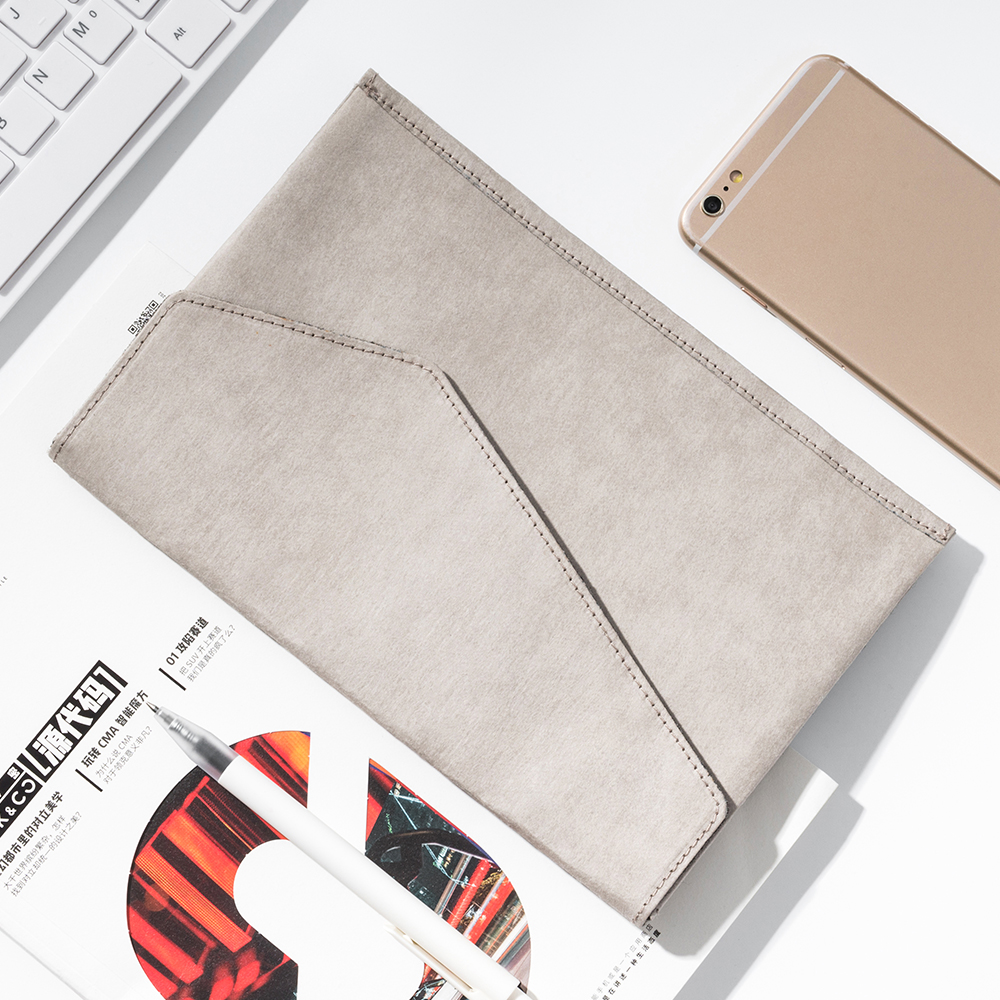 TIANSE A5 Folder DIY V-Kraft Washed Kraft Paper Mini Documents Pouch IPhone Waterproof And Wear-resistant (23*15.8*1.5)