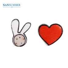 SANSUMMER Fashion Ladies Earrings Cute Rabbit Red Heart Asymmetric Jewelry Female Elegant Delicate 6799