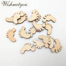 WISHMETYOU 50Pcs 22mm Foot Shaped Natural Wooden Slices Mini Crafts For Kids Handmade Diy Scrapbooking Decor Photo Album Wood