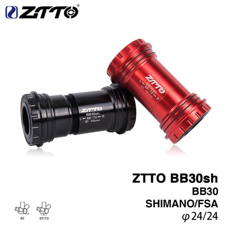 ZTTO BB30sh Bicycle Press Fit Bottom Brackets MTB Bike 24mm Crankset Chainset for Shimano Prowheel 24mm Crankset Black/Red