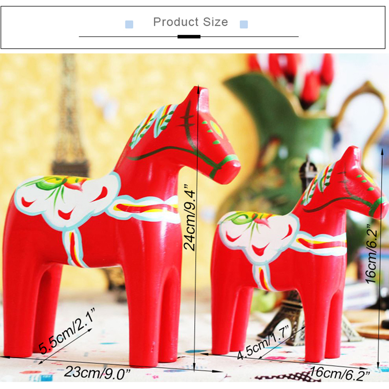 Wooden House Crafts Living Room Office Decorations Creative Home Animal Ornaments Solid Wood Rocking Horse Decor Wedding Gift in Figurines Miniatures from Home Garden