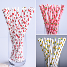 25pcs/lot Hot Fashion Pink Strawberry Pineapple Watermelon Paper Straws For Kids Birthday Wedding Supplies Party Drinking Straws(China)