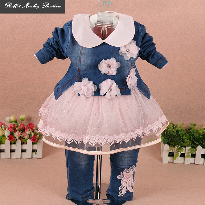 Children's clothing spring High quality cowboy three-piece suit of the girls flowers fashion baby suit denim set for infants the new high quality imported green cowboy training cow matador thrilling backdrop of competitive entrance papeles