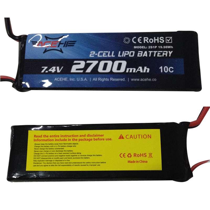 1 pc Black 7.4V 2700MAH 10C Battery With EC2 Plug for Hubsan H501S