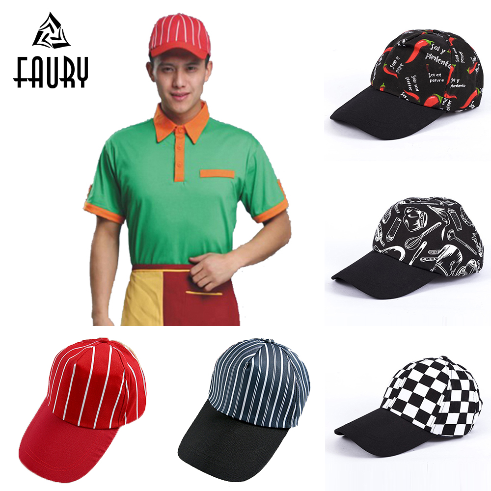Striped Print Work Caps For Restaurant Hotel Waiter Chef Kitchen Cooking Canteen Cuisine Baseball Caps Catering Food Service Hat