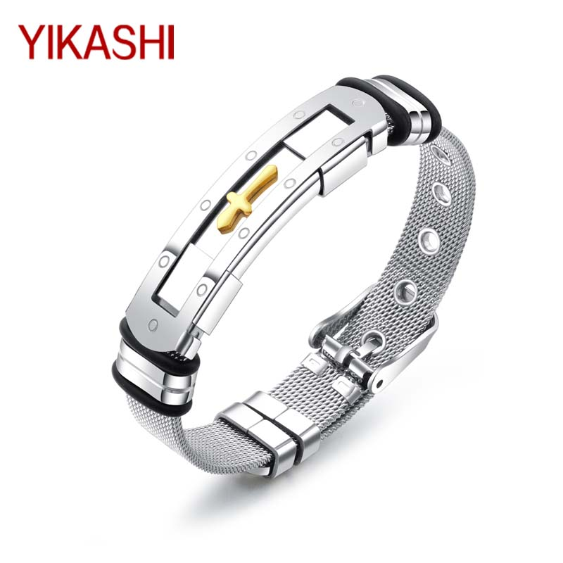 YIKASHI Titanium Bracelet Men Bangle Stainless Steel Fashion Bracelets jewelry Charm Wrist Cross Geometric shape Trendy jewelry