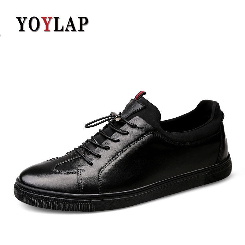 2018 Nouveau 100% Vache En Cuir Véritable Chaussures Hommes Noir Hommes Chaussures décontracté Luxe Baskets Chaussures En Cuir chaussures plates pour homme Grande Taille 38-48