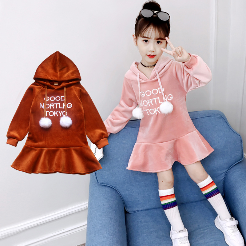 Autumn Dress For Girls 3 4 5 6 7 8 9 10 11 12 Years Hooded Warm Long Sleeve Kids Dresses 2018 New Fashion Sweatshirt Tutu Dress hooded pocket curved hem sweatshirt dress