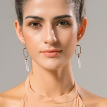 WILD & FREE Women Natural Stone Drop Earrings Vintage Antique Gold Geometric Shape