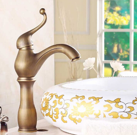 ФОТО New arrival high quality antique brass bathroom single lever basin faucet antique sink faucet basin mixer bathroom faucet