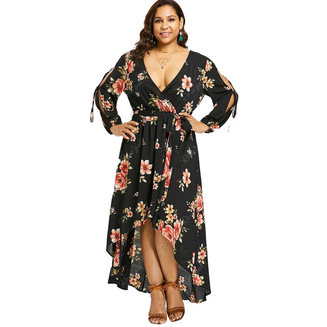 5942cc1a7a6 5XL Tall Women Sexy V Neck Vintage Black Flowers Print Plus Size Dress  Backless Bandage Lace Up Long Irregular Maxi Dresses 4XL