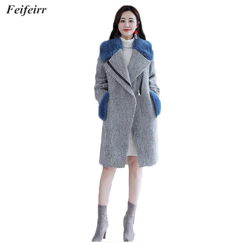 Lâche blue Chaud Hiver Coréenne Col Mince Fourrure Manteau De Minceur Femme Automne Laine Tempérament Gray Mode Version 2018 FcO4Tw7Yxq