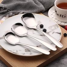 Сервировочная Ложка для буфета Серебристая нержавеющая сталь большая зеркальная полировка с длинной ручкой столовые приборы кухонная столовая посуда для детей