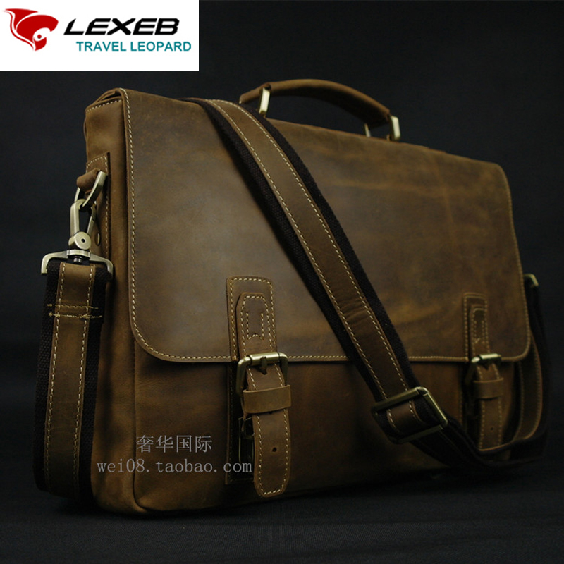 LEXEB Vintage Genuine Leather Briefcase For 15 Laptop High Quality Crazy Horse Bag Men's Over Shoulder Sling Bags 40cm Brown lexeb brand lawyer briefcase vintage crazy horse leather men laptop bag 15 inches high quality office bags 42cm length brown