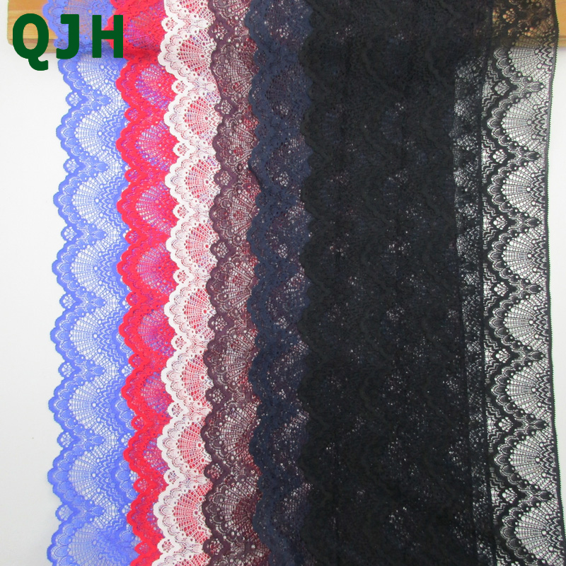 Newest 22cm Wide Embroidered Elastic Lace Trim Accessories Beautiful Stretch Lace Ribbon DIY Sewing Apparel Supplies 1 Yard