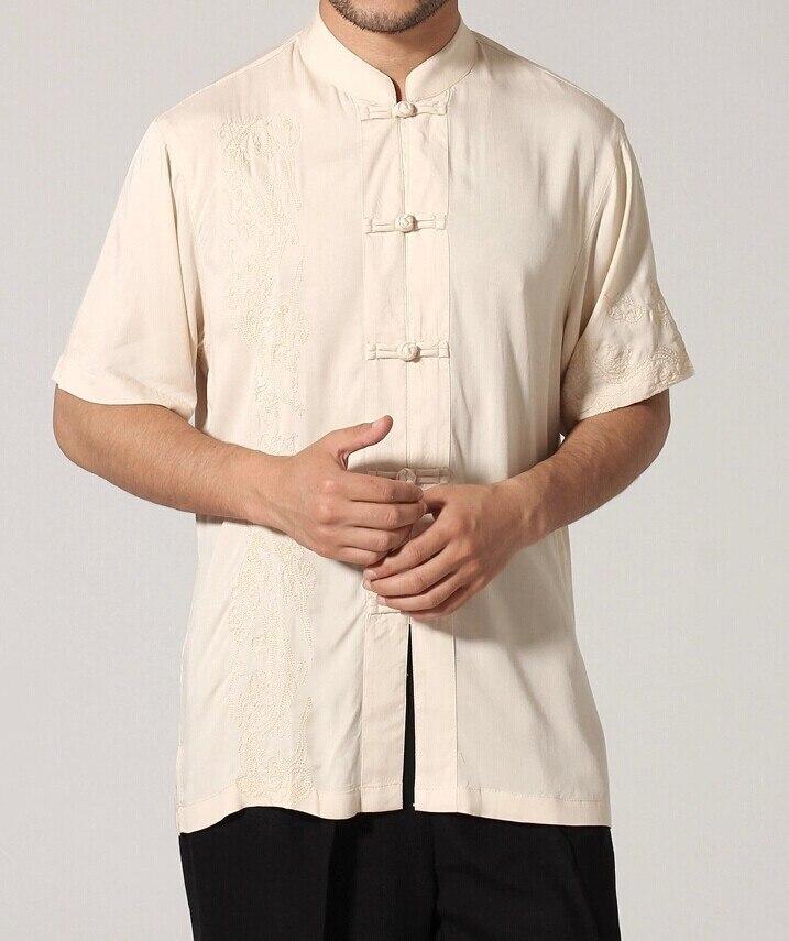 Черный традиционный китайский стиль Мужская рубашка Кунг-фу топ с короткими рукавами одежда Размер S M L XL XXL XXXL Mny-03C - Цвет: Бежевый
