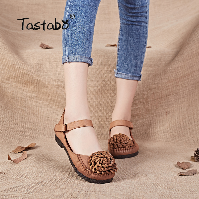 Tastabo Flowers Flat Shoes Women Handmade Genuine Leather Shoes Women Retro Soft Bottom Flat Shoes Spring Autumn Flats Shoes spring autumn soft bottom genuine leather comfortable flats large size women shoes flat with lace casual shoes elderly shoes