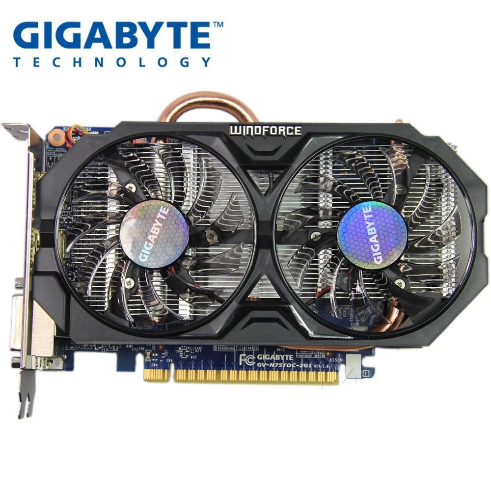 Utilisé, carte graphique Gigabyte GTX 750 TI 2G WINDFORCE double ventilateur refroidissement double DVI double Interface HDMI pour LOL CSGO PUBG