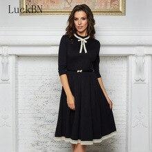 Autumn Vintage Dress Women Elegant Party Bow Tie Neck A Line Midi Dress Fashion 3/4 Sleeve Lace Hem Dresses Female Tunic Vestido