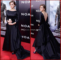 Элегантный черный с низким вырезом на спине женщины вечерние платья длинная рукава vestidos феста vestido лонго знаменитости платья красный ковёр