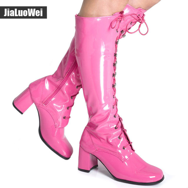 aecf958a0a3 Fashion 7cm High Square Heel Lace up Knee-High Boots Women Spring Autumn  Fancy Dress Party Boots 1960s Go Go Ladies Retro Shoes