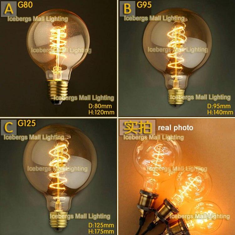 Vintage Edison Incandescent Light Bulb G80 G95 G125 E27 40W 60W 110V 220V Wire Winding Firework Edison Lamp