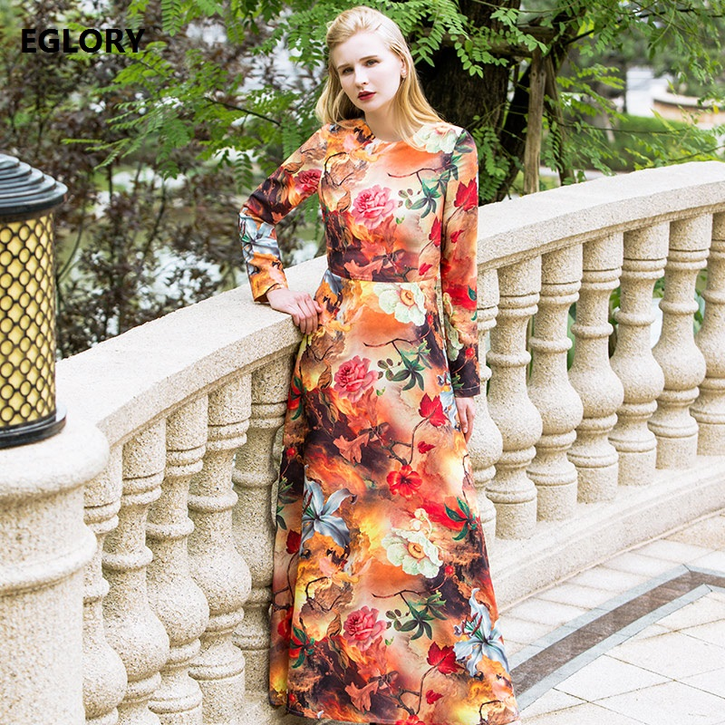 New Plus Size Women s Clothing 2018 Spring Fashion Collection Woman Floral Print Long Sleeve Maxi