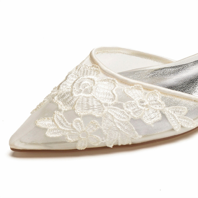 Creativesugar lady satin mesh dress shoes pointed toe ankle strap bridal wedding flats with lace applique sweet girl princess
