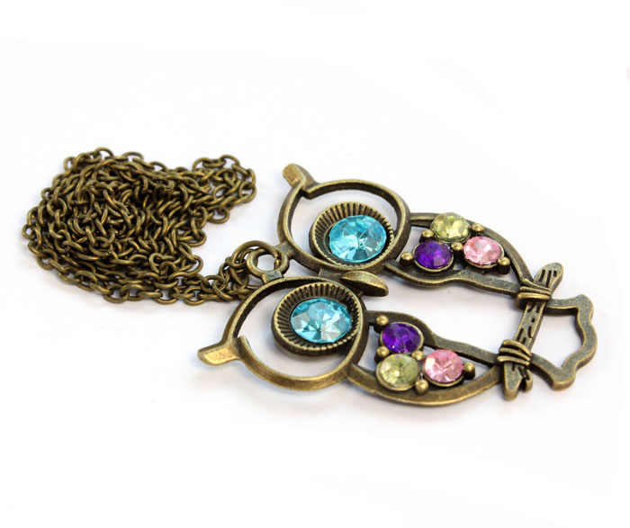 2019 new Fashion Lady Crystal Blue Eyed Owl Long Chain Pendant Sweater Coat Necklace torque Accessories Sexy Chain @3