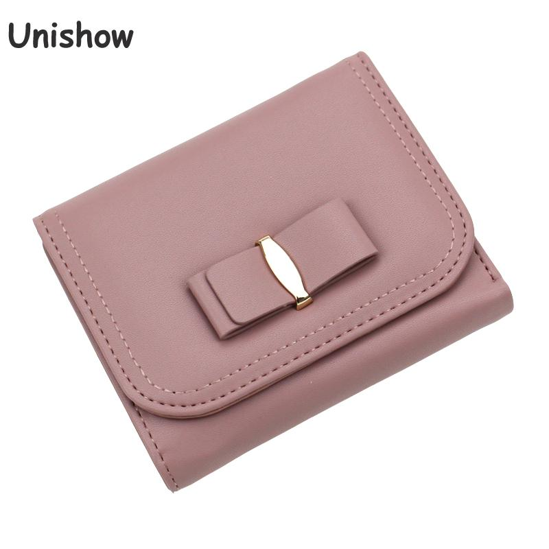 Unishow Elegant Bow Wallet Women Female Mini Coin Wallet Brand Small Women Purse Ladies Card Holders Girl Coin Purse Bag 2018 retro women long wallet purse luxury designer coin purse card holders female handbag wallet for girl portefeuille femme