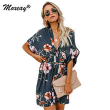 Moxeay 2019 Women Fashion Fit And Flare Print Casual Short Sleeve Dress Elegant Boho V Neck Floral Print Dress With Belt Vestido stripe floral print fit and flare dress