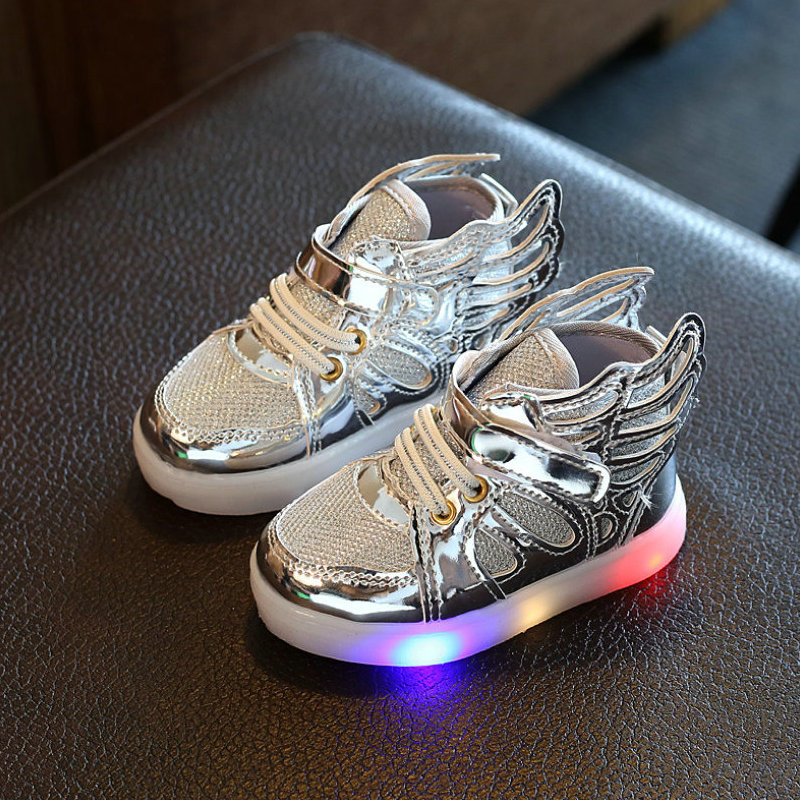 Children shoes with light 2017 New child glowing sneakers led kids Lighted Shoes toddler Boy LED Flashing girls shoes wings