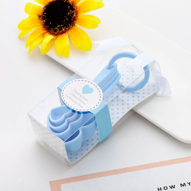 (4Pcs/Lot=1Boxes) Adorable Heart Baby souvenirs of Love Measuring Spoon Favors for Baby Shower favors and birthday Party gift 4