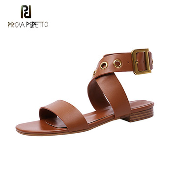 Prova Perfetto black white brown genuine leather gladiator sandals women metal ring cross ankle strap casual sandals buckle