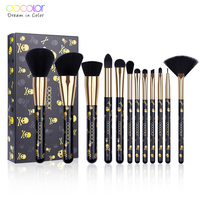 Docolor Make-Up Kwasten 12 STUKS Make-Up Borstel Set Poeder Contour Oogschaduw Oogschaduw Borstels Soft Synthetisch Haar Borstel Kit