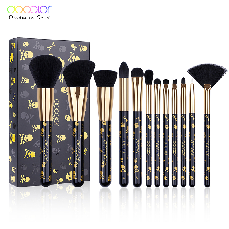 Docolor Makeup Brushes 12PCS Make Up Brush Set Powder Contour Eyeshadow Eye Shadow Brushes Soft Synthetic Hair Brush Kit 24 pcs make up brushes set high quality synthetic hair metal wood handle eye shadow eyeliner brush for makeup brush set