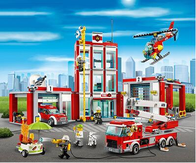 New Lepin 02052 1029pcs City Fire Station Building Block Fireman Compatible 60110 Brick Toy boy gift Educational DIY police station park diy track car parking building block toy boy gift learning