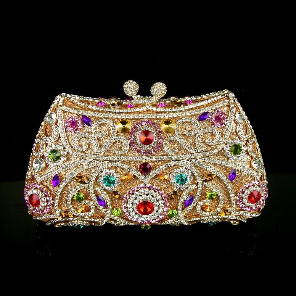 ФОТО #8131 Multi-color Crystal Flower Floral Gold Bridal Party hollow Metal Evening purse clutch bag handbag box case