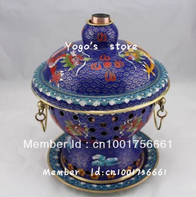 18cm China cjewelry enamel copper hot pot thickened Chinese Beijing Cloisnne alcohol copper fondue pot copper handmade cooking