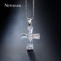 NEWBARK Elegant Cubic Zirconia Cross Pendant Necklace 18k White Gold Plated Cross Christian Jesus Jewelry For