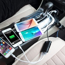 HAWEEL 9.6A Max 4 Ports USB Car Charger with Extending USB HUB for Front and Backseat Charging for iPhone / Galaxy / Huawei