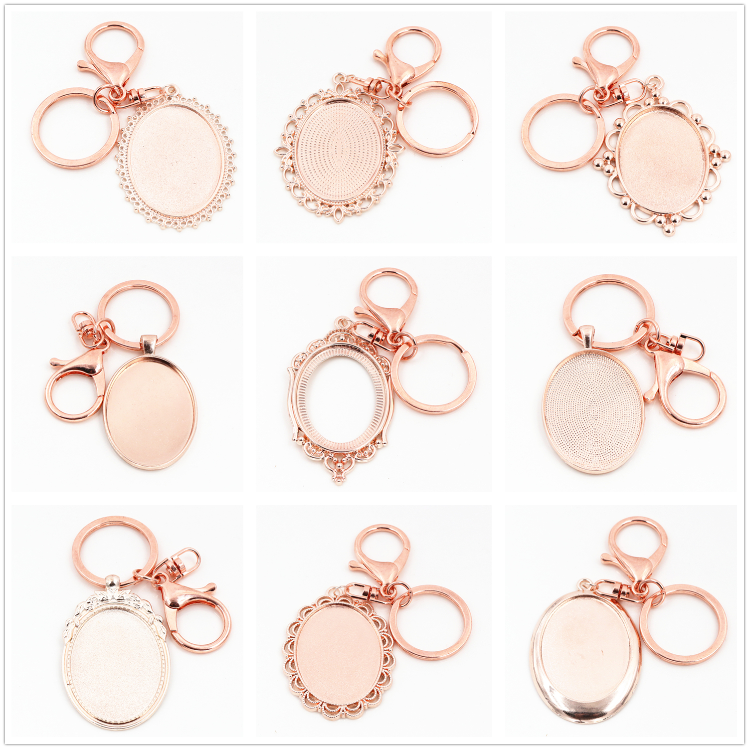 2pcs 30*40mm Inner Size Rose Gold Color Cameo Setting Base;Handmade Cameo Setting, Metal Key Chains Accessor